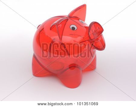 Red Transparent Piggy Bank With Only One Coin In