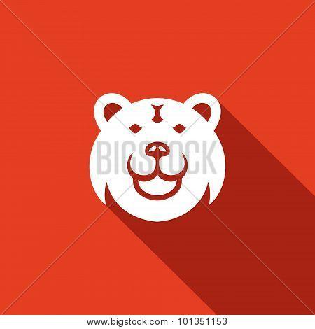 Bear Head Icon. Vector Illustration.