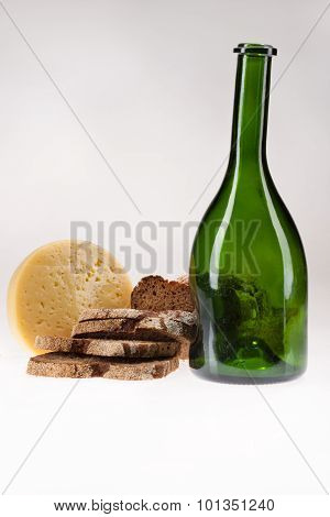 Still Life With Cheese, Bottle And Bread