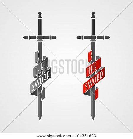 Two Sword Vector Icon With Ribbon On Balde.