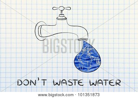 Don't Waste Water: The World In A Droplet From The Tap (with Water Image Fill)