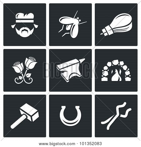 Forge Icons. Vector Illustration.