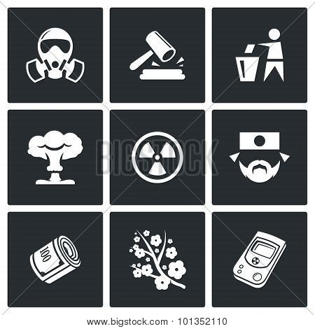 Nuclear Power In Japan Icons. Vector Illustration.