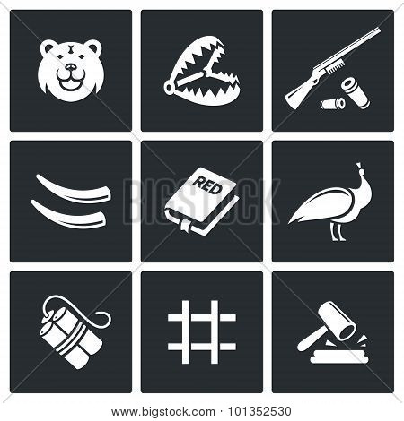 Poaching Icons. Vector Illustration.