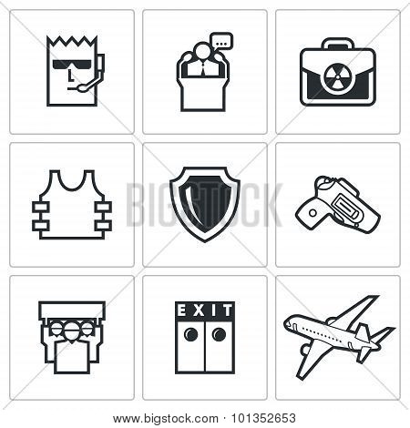 Protection Of The President And Nuclear Suitcase Icons. Vector Illustration.