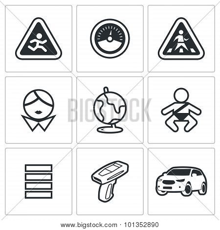 Child Safety Icons. Vector Illustration.