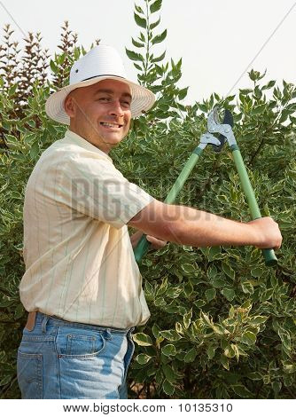 Man With  Garden Pruner