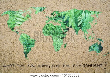 What Are You Doing For The Environment? World With Sand Instead Of Oceans