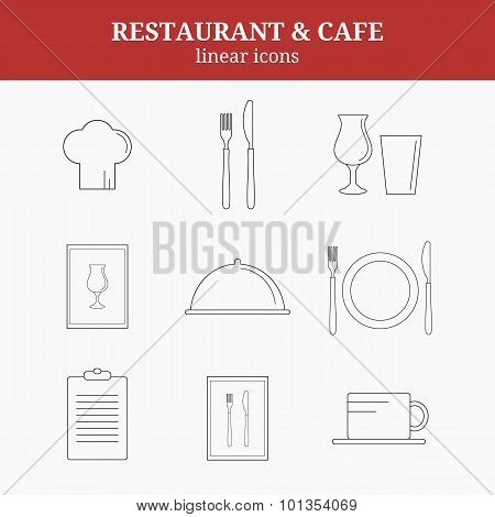 Linear Restaurant Icons.