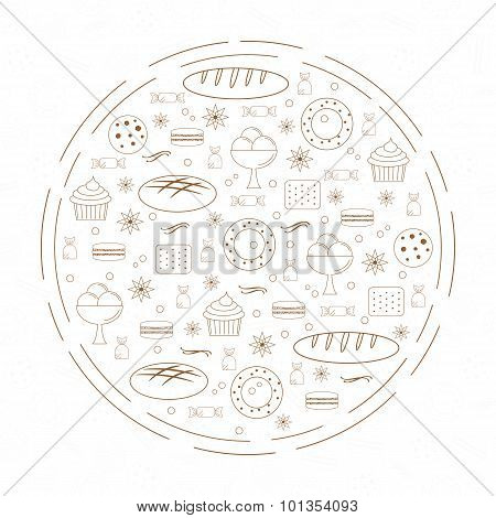 Linear Bakery Elements In Circle.