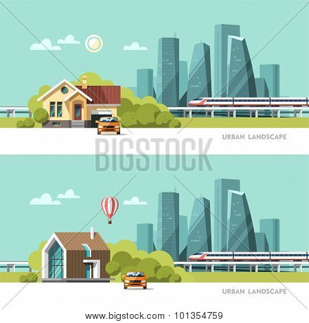 Family home. Traditional and modern house. Cityscape background. Urban landscape.