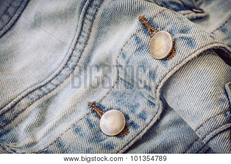 Jeans Shirt Clothing With Metal Button On Clothing Textile Industrial