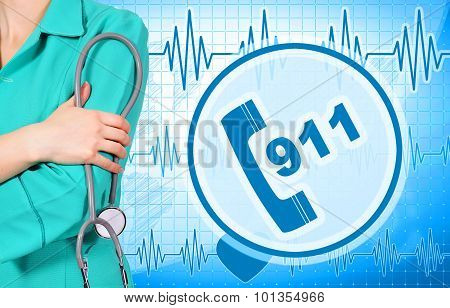 Woman Doctor And 911 Symbol