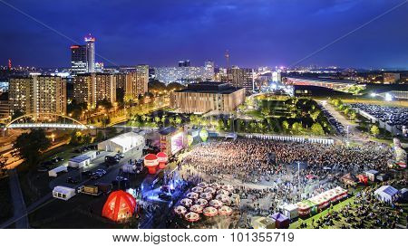 Panorama Of Katowice At Night During A Concert Dedicated To The 150Th Anniversary Of The City