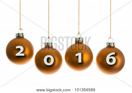 Christmas Balls Hanging At A Rope With Text 2016