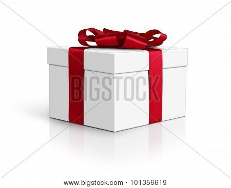 Gift Box, Side View, With Red Ribbon And Bow Isolated On White, Clipping Path