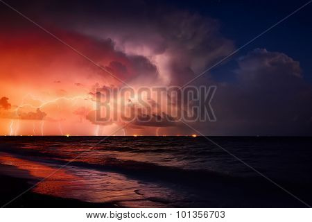Nature force background - lightning in dark sky, sea