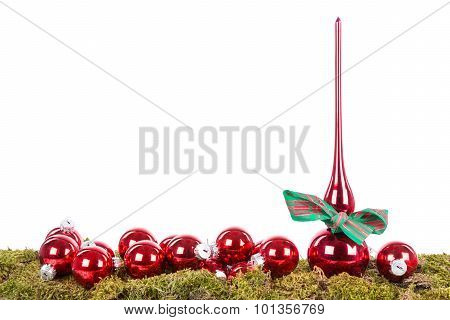 Christmas Decoration With Peak And Balls At A Green Bottom