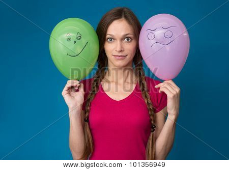 Funny Girl With Balloons