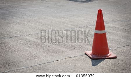 Traffic Cone On Street Used Warning Sign On Road