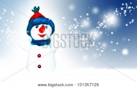 Snow man in santa cap on nature