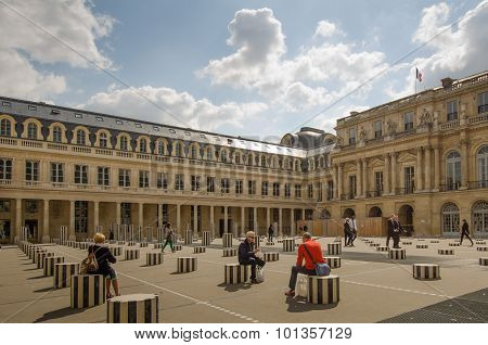 Buren's Columns in the courtyard of the Palais Royal in Paris