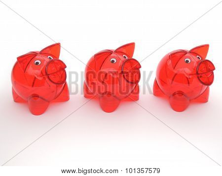 Three Red Transparent Piggy Banks Without Money