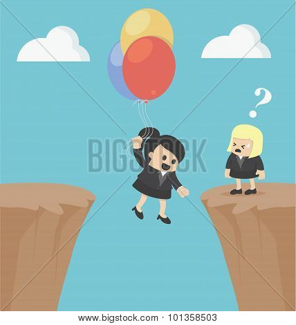 Illustration Business Woman Concepts Successful Businessman After Failure