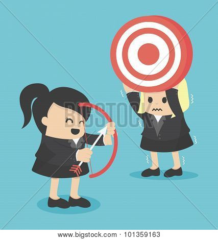 Businesswoman Shooting Target With A Bow.eps.10
