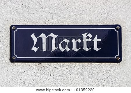 Street Sign Of The Market Place Of Crimmitsch, Germany, 2015