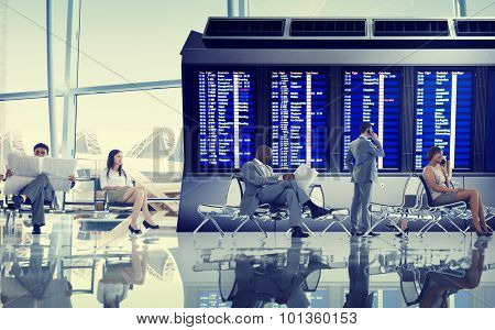 Business People Airport Terminal Travel Departure Concept