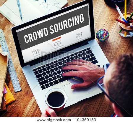 Crowed Sourcing Collaboration Group Online Community Concept