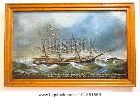 Kotor, Montenegro - September 10, 2015: Maritime Museum Of Montenegro. Old Painting Of The Vessel In