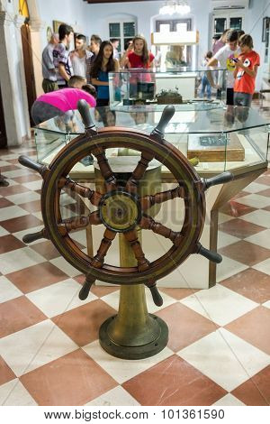 Kotor, Montenegro - September 10, 2015: Maritime Museum Of Montenegro. Steering Wheel Of The Ship An