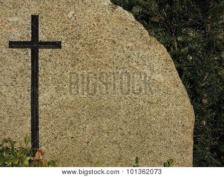 Black Cross On Granite Background Tombstone
