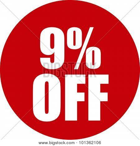 9 Percent Off Icon