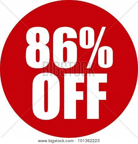 86 Percent Off Icon