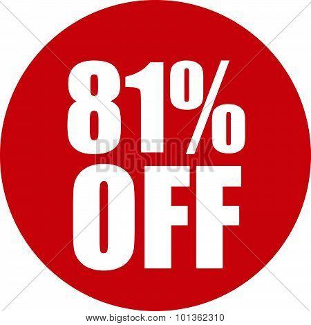 81 Percent Off Icon