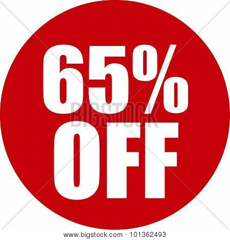 65 Percent Off Icon