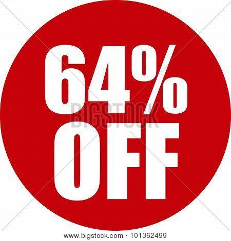 64 Percent Off Icon