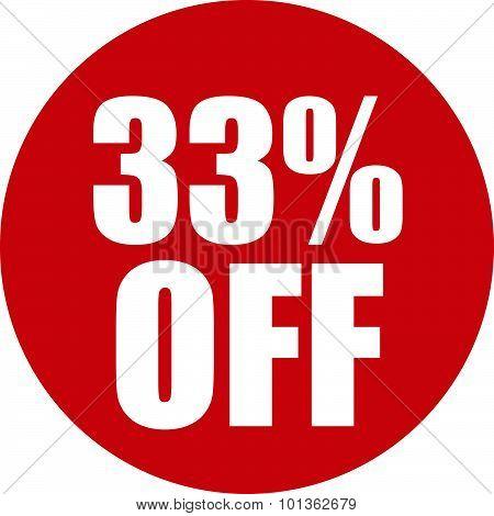 33 Percent Off Icon