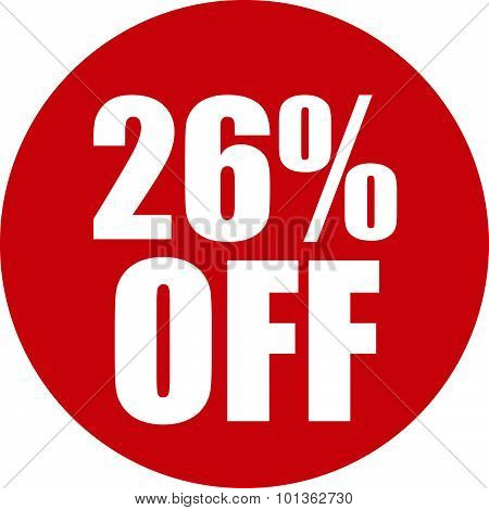 26 Percent Off Icon