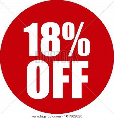18 Percent Off Icon