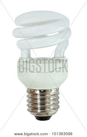 Fluorescent spiral lightblulb on white