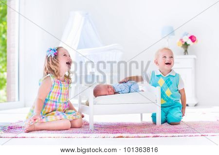 Kids Playing With New Born Baby Brother