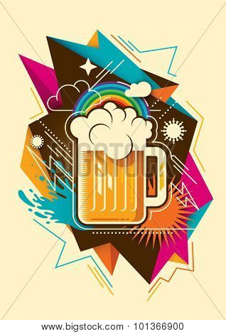 Abstraction with glass of beer. Vector illustration.