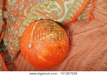 Pumpkin on fabrics