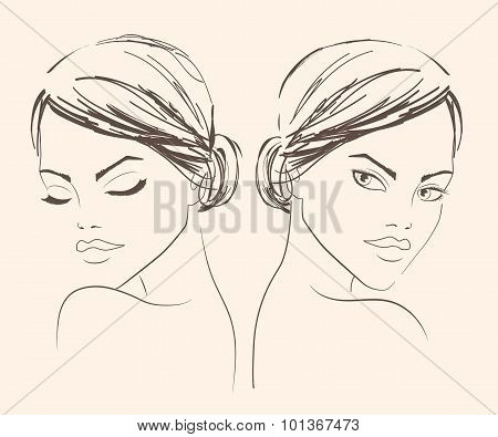 Fashion Beautiful Womantwo Portraits Of A Girl For Fashion Salon Banner Or Logo