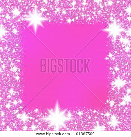 Frame from white stars on a pink background