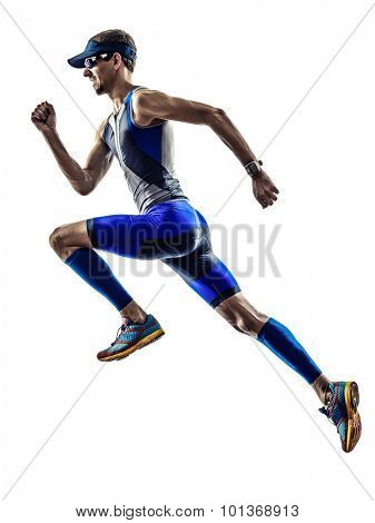 man triathlon iron man athlete runners running in silhouette on white background